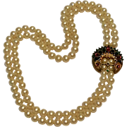 Trifari jewels of India Moghul 2 strand simulated pearl necklace
