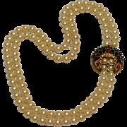 Trifari jewels of India Moghul 2 strand simulated pearl necklace