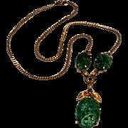VanDell carved pierced jade green necklace 12K gf