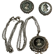 Whiting Davis hematite glass intaglio cameo earrings and pendant set