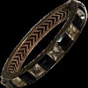 Art Deco sterling channel set paste bangle 1920's bracelet