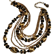 Vendome necklace bead and chain 8 strand black gold colors