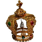 Vintage Infant of Prague jeweled statue crown gilt filigree