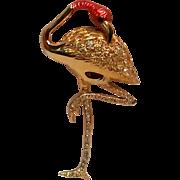 Signed Swarovski Flamingo pin pink enamel head