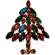 Napier Christmas tree pin marquis rhinestone