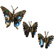 Sterling turquoise butterfly pin trio FM Mexico