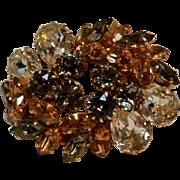 Schoffel Austria rhinestone pin smoke, ice, topaz brown
