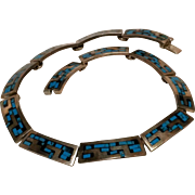 Taxco sterling turquoise mosaic inlay choker necklace TB-128