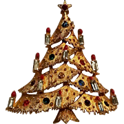JJ Christmas tree pin baguette rhinestone candles