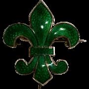 Silver  guilloche enamel fleur de lis watch pin green