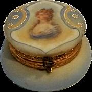C F Monroe Nakara portrait powder mirror hinged dresser jar vanity box