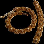 Trifari simulated pearl bracelet necklace brutalist design