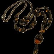 1930's Sautoir necklace filigree brass beads amber glass intaglio cameo and beads