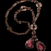 1920's Czechoslovakia Art Deco glass drop necklace purple
