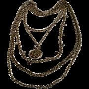 1970's Napier necklace 5 strand chain watch locket motif pendant