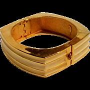 Lanvin Paris Modernist hinged cuff bracelet cream enamel