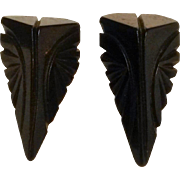 Deep carved dark chocolate brown Bakelite dress clips