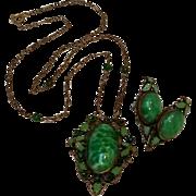 Max Neiger Czech Peking glass green dot leaf enamel necklace earrings set