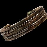 Sterling silver cuff bracelet LS R heavy 53.3 grams