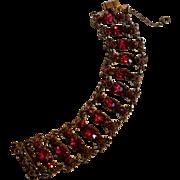 1940's Wide red rhinestone cast metal plaques bracelet cold painted enamel