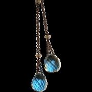 Lariat necklace pale aqua blue drop crystals