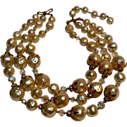 Simulated baroque pearl ab crystal rhinestone rondelle bead necklace three strand