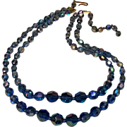 West Germany blue glass bead necklace two strand
