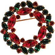 Eisenberg Ice Christmas wreath pin green red rhinestone