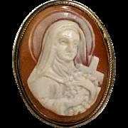 Saint Teresa cameo pin pendant carved shell 800 silver