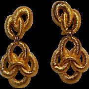 Trifari drop earrings gold tone rope