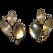 Kramer satin glass rhinestone clip earrings