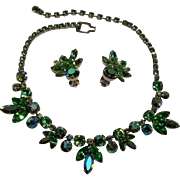 Weiss peridot green rhinestone necklace earrings set