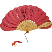 SOLD Antique hand fan carved ox bone  pink fabric with steel spangle sequins