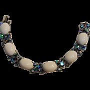 1950's Trifari bracelet blue ab rhinestone white lucite cabochon