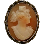 Sterling silver Cameo ring ornate band