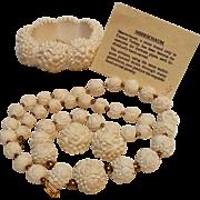 Meerschaum hand carved parure bracelet necklace earrings roses