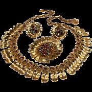 Lisner rhinestone flower parure blue aurora borealis and brown necklace pin earrings