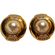 Swarovski signed SAL earrings simulated pearl tiny crystals