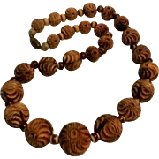 Carved celluloid bead necklace brown to cream glass spacers