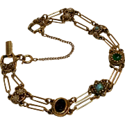 Goldette bracelet double chain simulated stones and simulated seed pearls