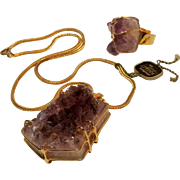 Abbe Creations purple geode stone pendant necklace ring set chunky