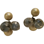 Vogue earrings givre glass simulated pearl bead drops grey