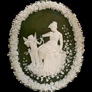 SALE PENDING Jasperware wall plaque Cupid and Psyche green