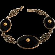 Sterling silver bracelet rose links black glass simulated pearl