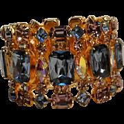 "Wide rhinestone bracelet 1 3/4"" aqua purple aurora borealis"