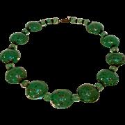 Venetian glass bead necklace green gold foil
