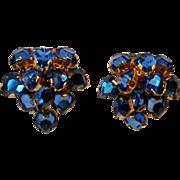 Castlecliff blue rhinestone drop cha cha earrings