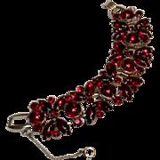 Juliana red glass cabochon rhinestone bracelet silver tone