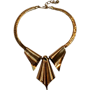 Napier Retro necklace die stamped brass gold plated 1950's