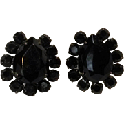 Miriam Haskell black rhinestone clip earrings Japanned finish